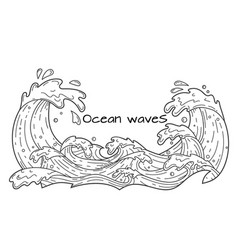 Ocean waves outline vector