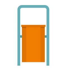 orange public garbage bin icon isolated vector image