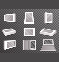 Paper package boxes front top isometric open vector