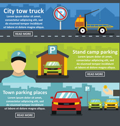 Parking tow banner horizontal set flat style vector