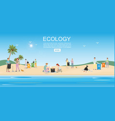 people cleaning garbage on beach area vector image