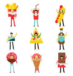 people wearing fast food snacks costumes set men vector image
