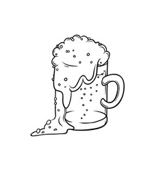 Pint tumbler of beer isolated color sketch vector