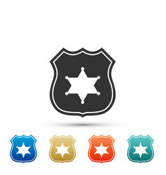 police badge icon isolated on white background vector image