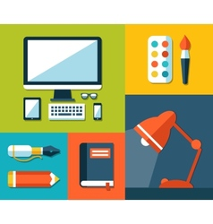 school flat design composition vector image