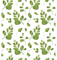 Seamless floral greenery leaves patten background vector