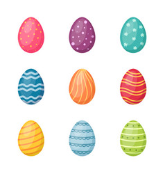 set easter eggs on white background happy vector image