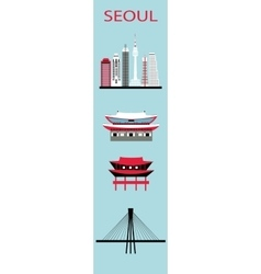 Set of Seoul symbols vector image