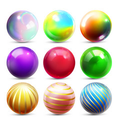 shine sphere set orb shining ball glowing vector image