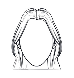 silhouette faceless woman fashion hairstyle line vector image