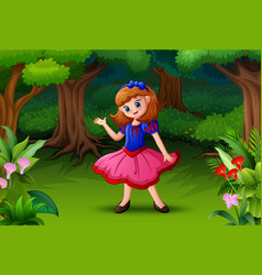 Snow white in the forest vector