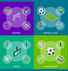 soccer stadium competition banner set isometric vector image