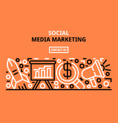 social media marketing banner outline style vector image