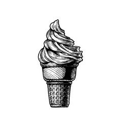 Soft serve ice cream in a cone vector