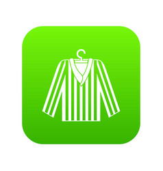 Striped pajama shirt icon digital green vector