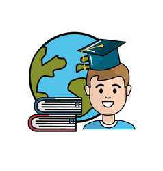 Student with hat graduation global planet and vector