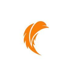 Stylized bird logo orange color bird stylish vector