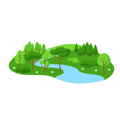 summer landscape with forest trees and bushes vector image