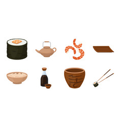 sushi and seasoning icons in set collection for vector image