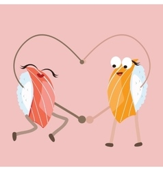 Sushi food character dancing forming heart shape vector
