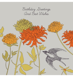 Swallow and flowers vector