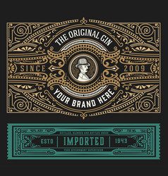 Vintage gin label with baroque ornaments vector