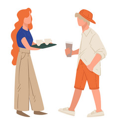 Waitress serving clients carrying tray with coffee vector