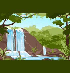 Waterfall jungle landscape with rock cascade vector
