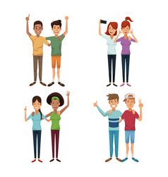 White background with colorful group of friends in vector