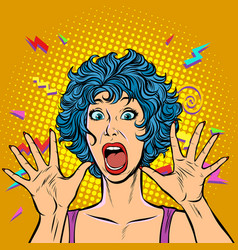 woman panic fear surprise gesture girls 80s vector image