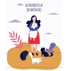 woman stands outdoor holding kitty surrounded by vector image