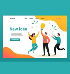 Young team creates a new idea brainstorm business vector