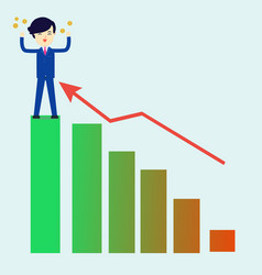 businessman get money with successful graph vector image vector image