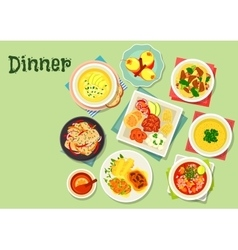 Dinner menu dishes with exotic fruit dessert icon vector image