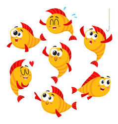 golden yellow fish characters with human face vector image