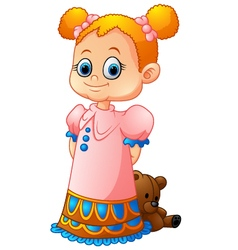 little girl with her doll vector image