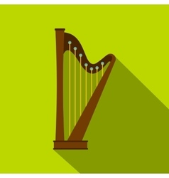 Wooden harp icon flat style vector image