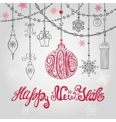 2016 New year card with ballgarlands and vector image vector image