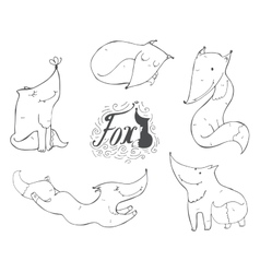 Black and white set of hand drawn cute foxes in vector image vector image
