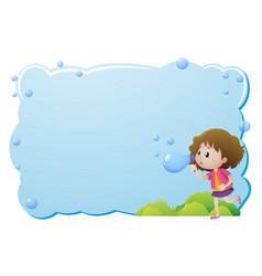 border template with girl blowing bubbles vector image