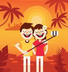 Couple vacation selfie 1 vector image vector image
