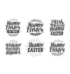 easter label greeting card celebration icons set vector image