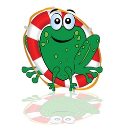 Frog with red lifesaver vector