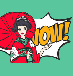 geisha japanese woman pop art stylewow eps 10 vector image