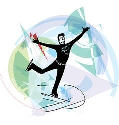 man ice skater skating at colorful sports arena vector image