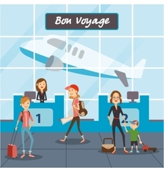 People fly on vacation travelers in the airport vector image vector image