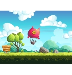 Seamless background blimp above the hills vector image