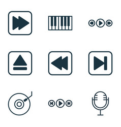 set of 9 music icons includes audio buttons vector image vector image