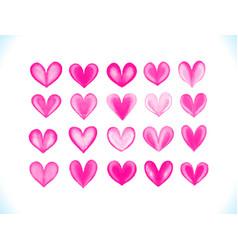 colorful watercolor pink hearts se vector image vector image