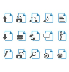 Document icons blue series vector image vector image